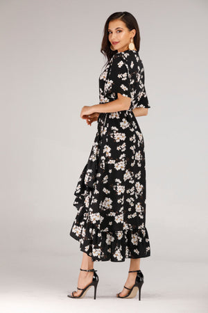 Mantra Pakistan BLACK WRAP DRESS WITH WHITE FLORAL PRINT | DRESS