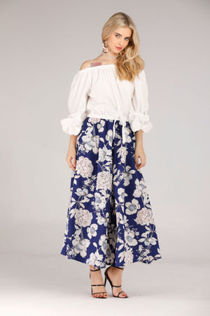 Mantra Pakistan FLOWY PANTS WITH WHITE FLORAL PRINT | BOTTOMS