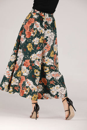 GREEN FLOWY PANTS WITH FLORAL PRINT - Mantra Pakistan