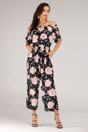 Mantra Pakistan OFF SHOULDER JUMPSUIT WITH ROSE PRINT | DRESS