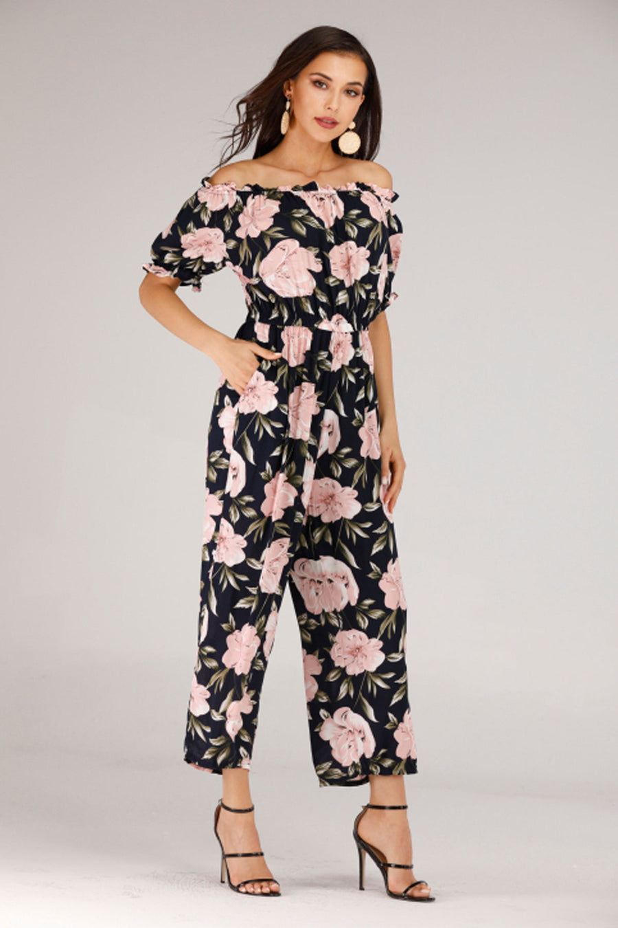 OFF SHOULDER JUMPSUIT WITH ROSE PRINT