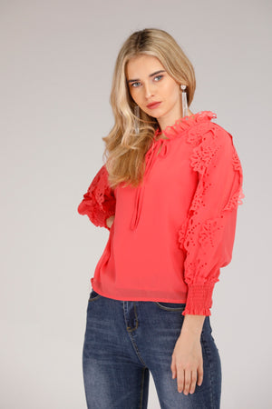 SHIRT WITH FLORAL LACE