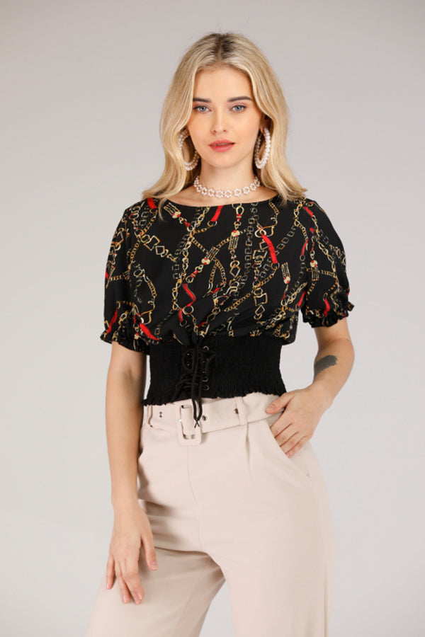 BLACK CHAIN PRINT TOP - Mantra Pakistan