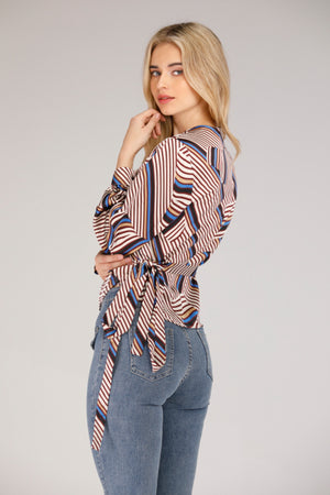 Mantra Pakistan WRAP TOP WITH LINES | TOPS