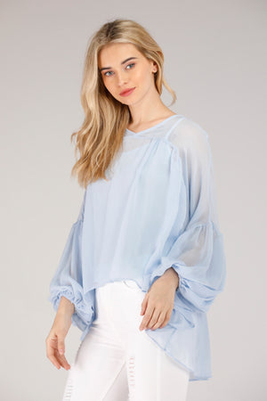 LIGHT BLUE FLOWY TOP