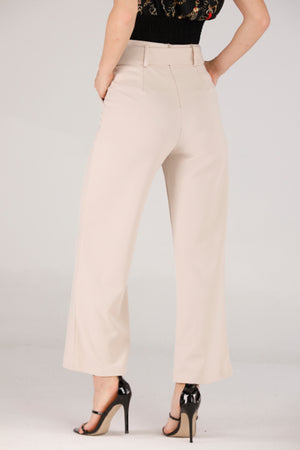 BEIGE PANTS WITH BELTS - Mantra Pakistan