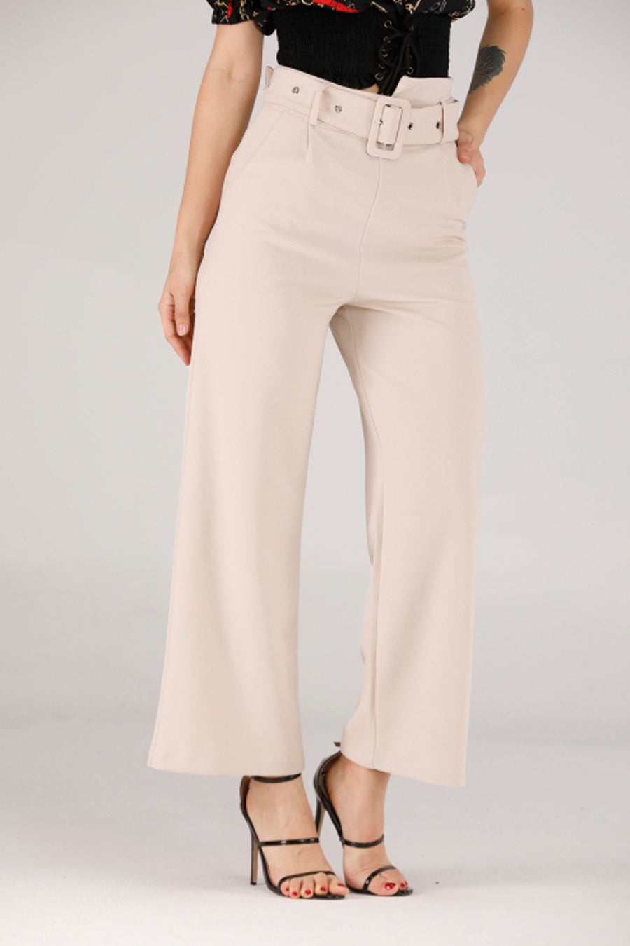 Mantra Pakistan BEIGE PANTS WITH BELTS | BOTTOMS