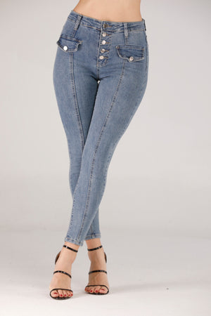 JEANS WITH SILVER BUTTONS