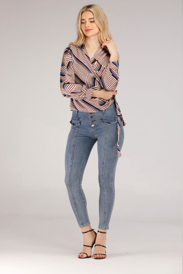 Mantra Pakistan JEANS WITH SILVER BUTTONS | BOTTOMS
