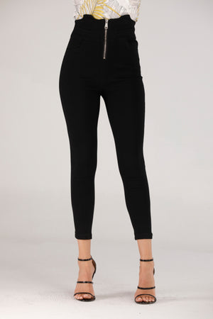 HIGH WAIST BLACK JEANS WITH ZIP - Mantra Pakistan