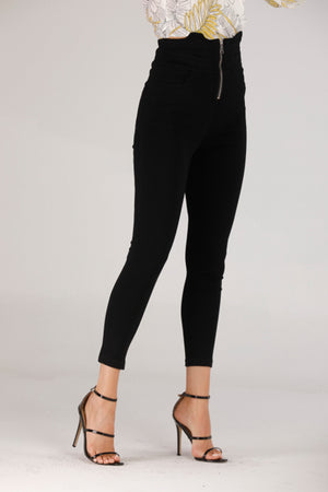 Mantra Pakistan HIGH WAIST BLACK JEANS WITH ZIP | BOTTOMS