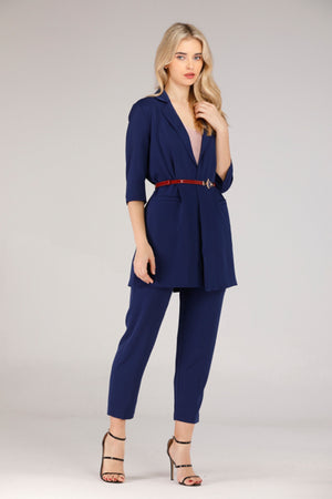 BLUE SUIT WITH BELT - Mantra Pakistan