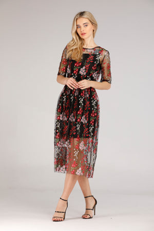 Mantra Pakistan FLORAL MESH DRESS | DRESS