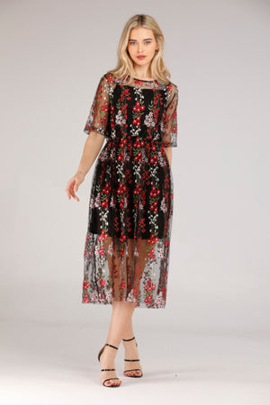 FLORAL MESH DRESS - Mantra Pakistan