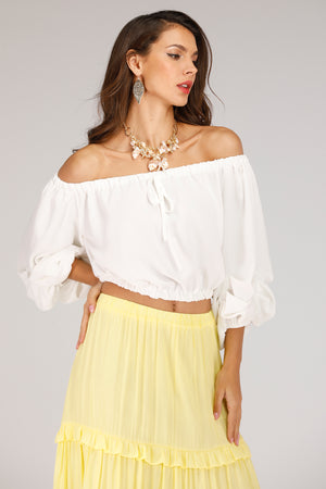 Mantra Pakistan Off Shoulder And Puffy Sleeve Top | TOPS