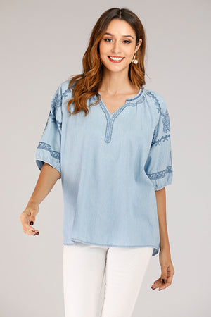 Mantra Pakistan Denim Shirt With Embroidery | TOPS