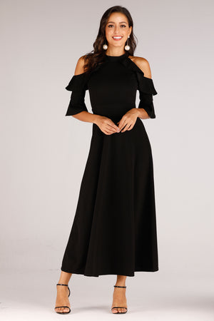 Mantra Pakistan Cold Shoulder With Ruffle Sleeve Dress | DRESS