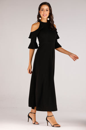 Cold Shoulder With Ruffle Sleeve Dress - Mantra Pakistan