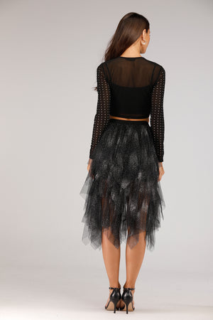 Mantra Pakistan Glitter Net Skirt | BOTTOMS