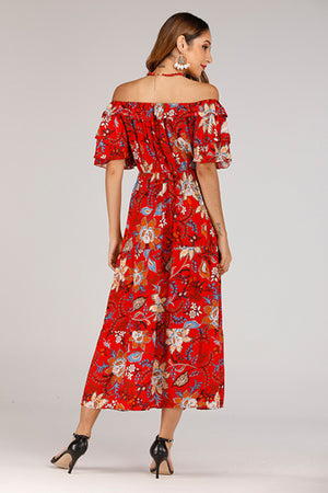 RED OFF SHOULDER FLORAL DRESS