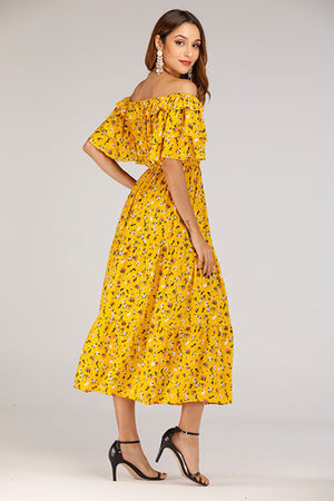 YELLOW FLORAL OFF SHOULDER DRESS