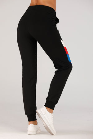 Black Sweatpants With Color Stripes - Mantra Pakistan