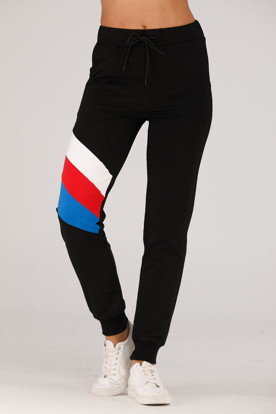 Mantra Pakistan Black Sweatpants With Color Stripes | BOTTOMS