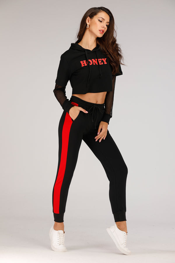 Mantra Pakistan Black Sweatpants With Red Stripe | GYMWEAR