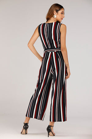 SLEEVELESS STRIPE KNIT JUMPSUIT