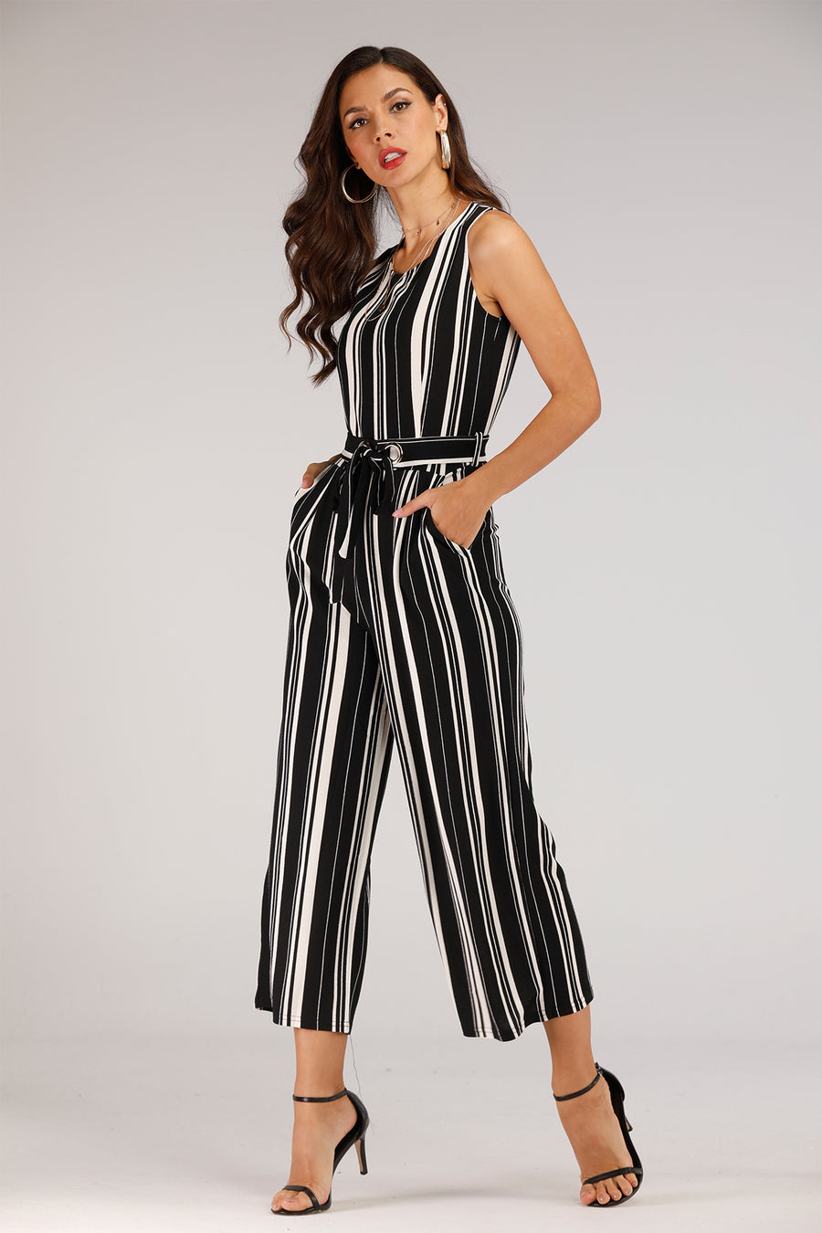 Black & White Stripe Knit Jumpsuit With Belt - Mantra Pakistan
