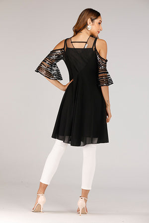 COLD SHOULDER TOP WITH SEQUINS - Mantra Pakistan