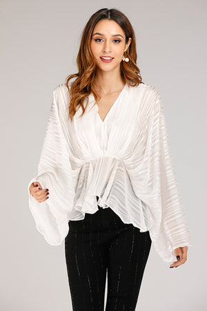 Mantra Pakistan White Flowy Shirt | TOPS