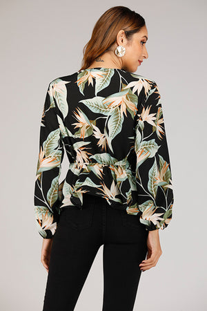 Wrap Top With Leaf Prints