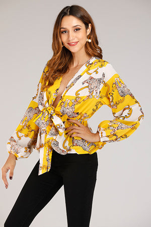 Mantra Pakistan Yellow Wrap Top | TOPS