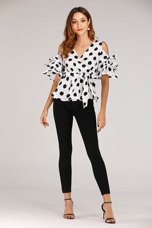 Polka Dot Cold Shoulder