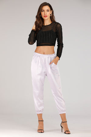 Mantra Pakistan Silk Jogger Pants | BOTTOMS