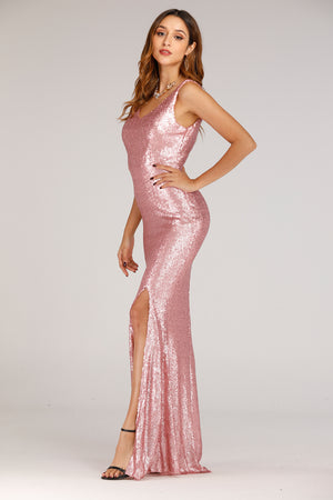 Pink Sequence Long Dress