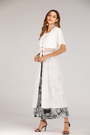Mantra Pakistan Long White Shrug With Middle Cut Out | TOPS