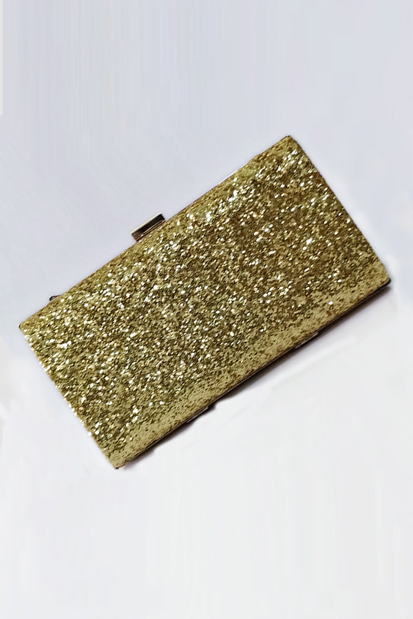 Mantra Pakistan Golden Glitter Clutch | ACCESSORIES