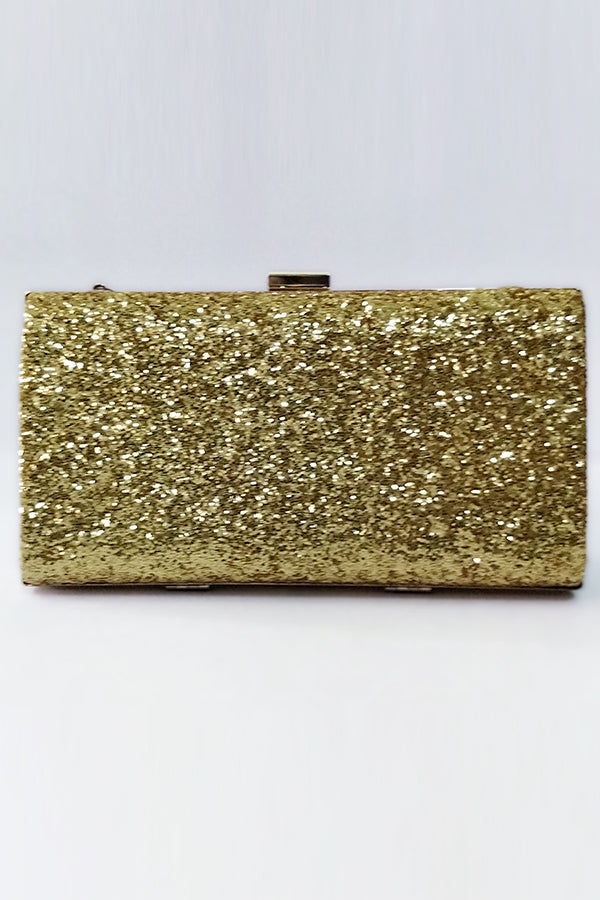 Golden Glitter Clutch - Mantra Pakistan