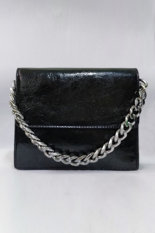 Clutch With Silver Chain Strap - Mantra Pakistan
