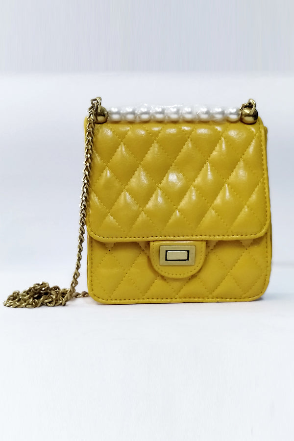 Mantra Pakistan Yellow Quilted Bag With Pearl | ACCESSORIES