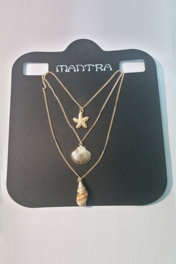 3 Layer Golden Shell And Star Necklace - Mantra Pakistan