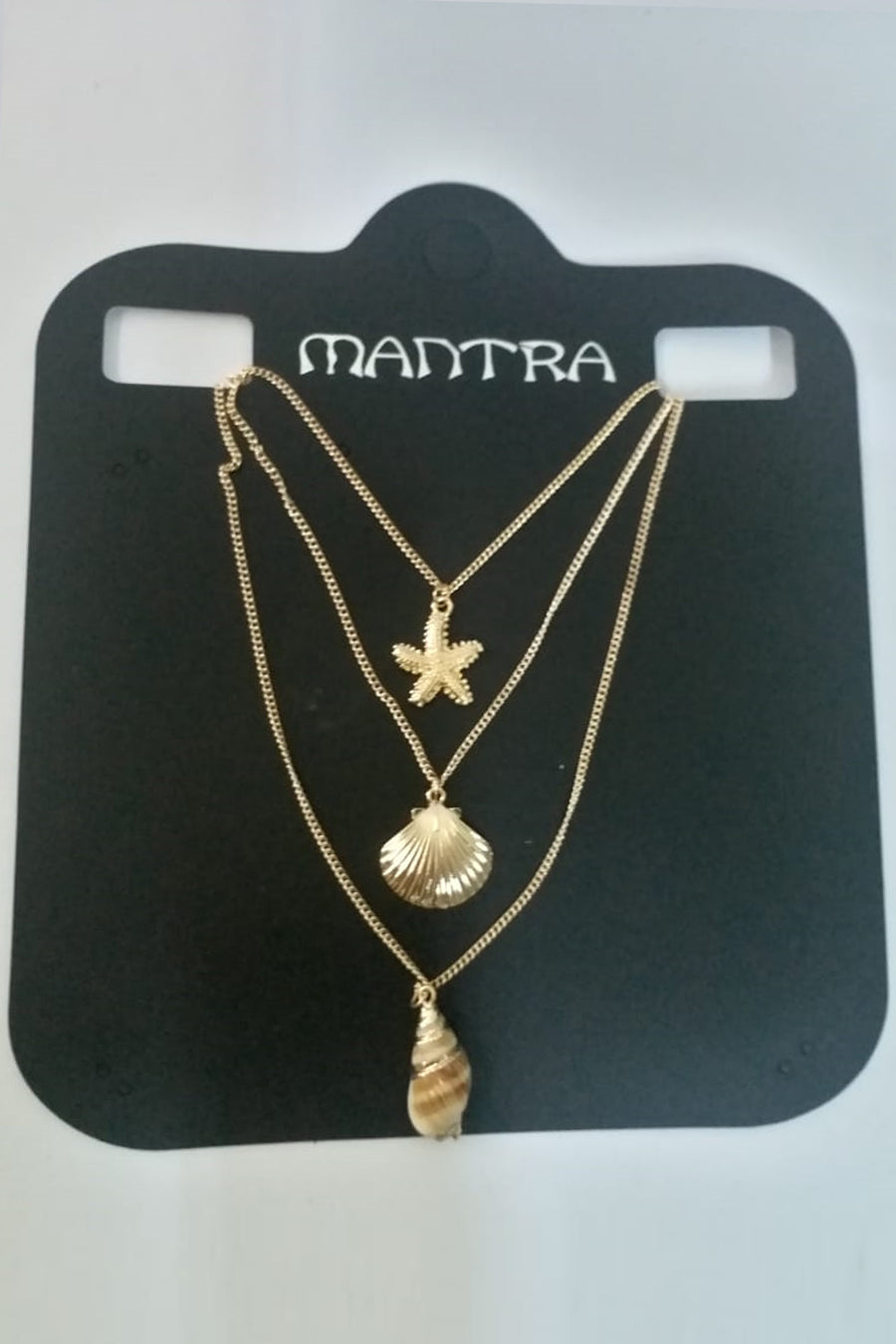 Mantra Pakistan 3 Layer Golden Shell And Star Necklace | ACCESSORIES