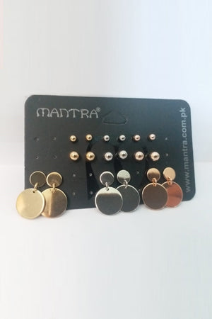 3 Color Stud Earrings Pack - Mantra Pakistan