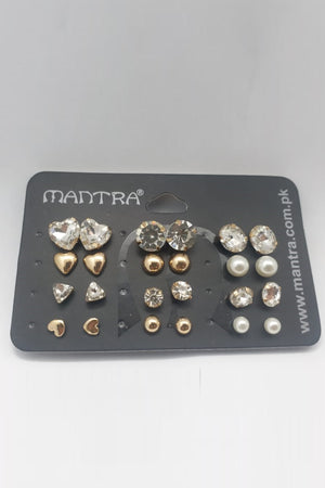 Diamond and Pearl Stud Earring Pack - Mantra Pakistan