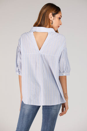 Mantra Pakistan Blue And White Stripe Shirt With Back Cut Out | TOPS