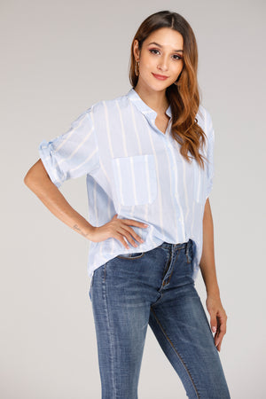 Mantra Pakistan Shirt With White Stripes | TOPS