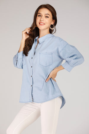 Mantra Pakistan Denim Shirt With Criss Cross Lace Back | TOPS