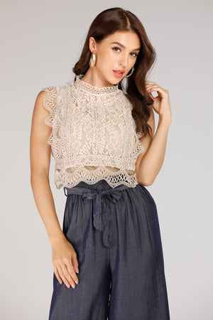 Mantra Pakistan Lace Sleeveless Top | TOPS